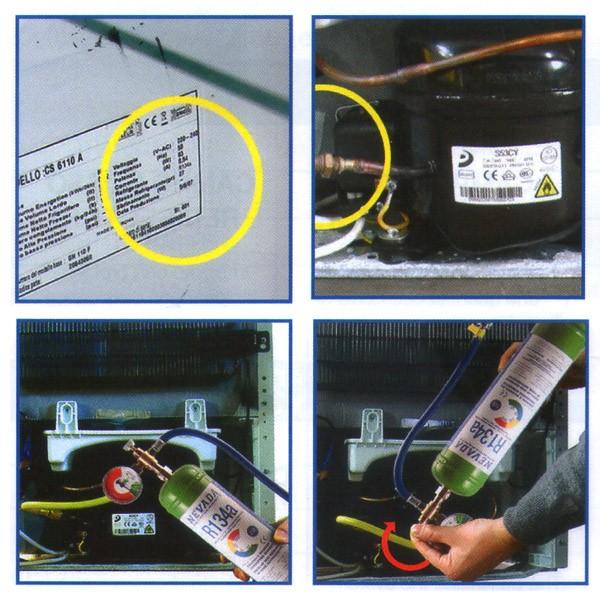 r134a r134 gas refrigerante kit de recarga de 1 kg para refrigerador. Black Bedroom Furniture Sets. Home Design Ideas